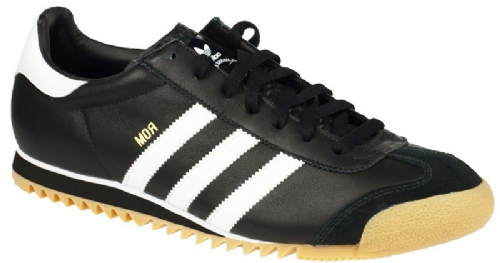 Adidas Originals Rom Mens Limited Edition Black White Retro Leather Gum Sole Trainers